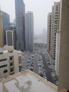 Widok z mieszkania naszego hosta (Dubaj).