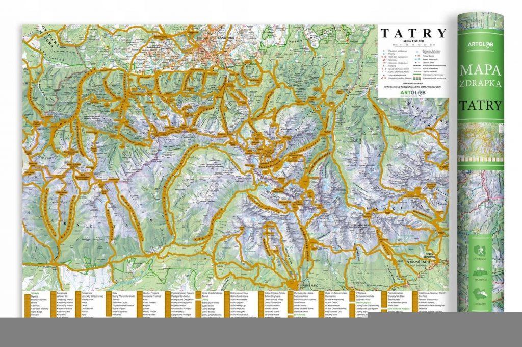Mapa zdrapka turystyczna - Tatry